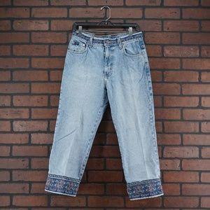 EXPRESS Vintage 90s Mom Jeans Floral Trim Boho 8